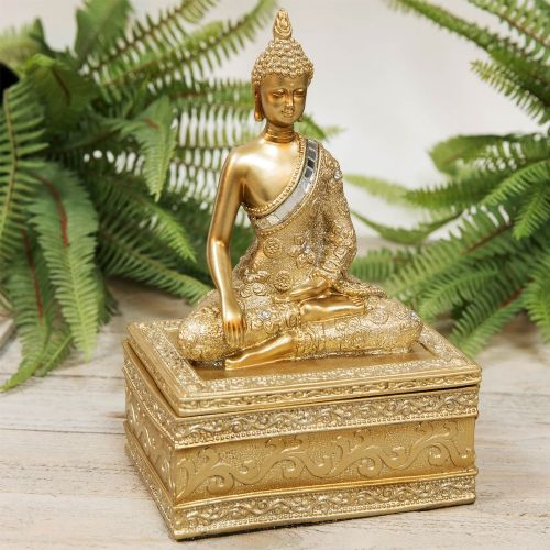 Thai Buddha Golden Trinket Box  Decorative Zen Home Storage Box